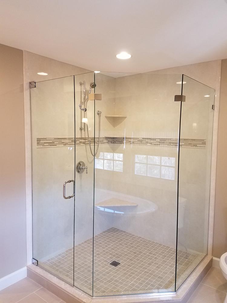Large Walk-in Shower with Glass Door