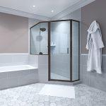 Bathroom with Glass Shower and Hexagon Floor Tiles