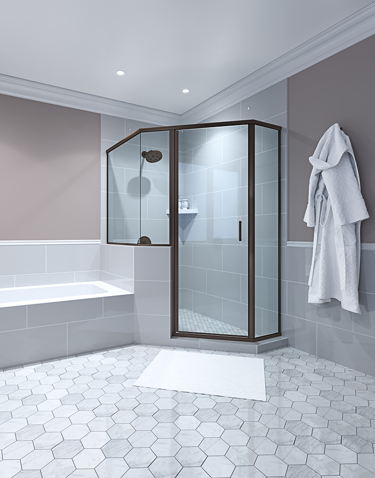Bathroom with Glass Shower and Hexagon Floor Tiles