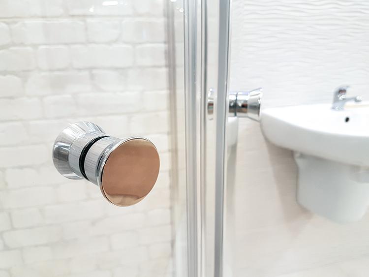 Glass Shower Door with Metal Knob